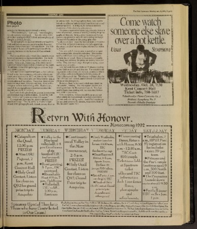 """Three pages from the """"Utah Statesman"""" newspaper, October 19, 1992"""