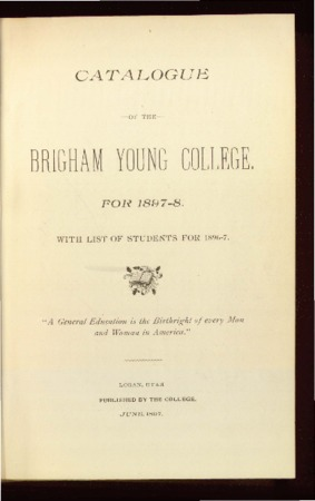 Catalogue of the Brigham Young College for 1897-1898