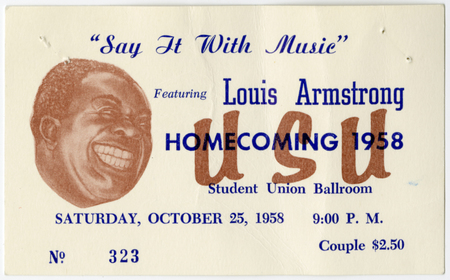 Louis Armstrong homecoming concert ticket, 1958