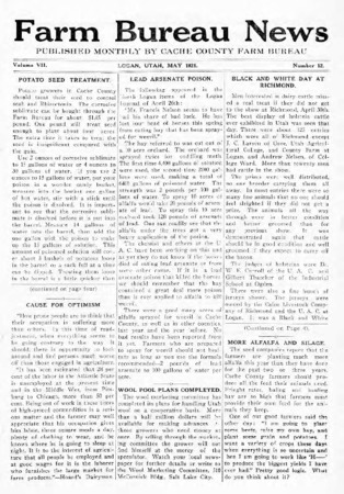 Farm Bureau News, Cache County, Volume VII, Number 12, May 1921