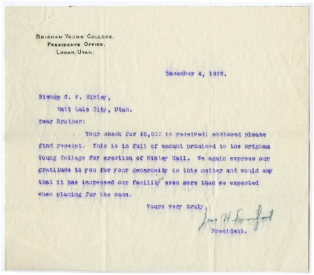 Letter from BYC President to C. W. Nibley concenring funds donated for Nibley Hall