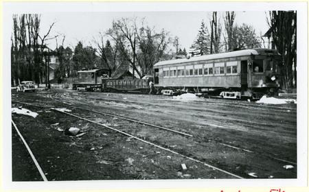 U.I.C. Engine, Hopper, and Passenger Car at a Wye Stop, Logan, 1940s<br />