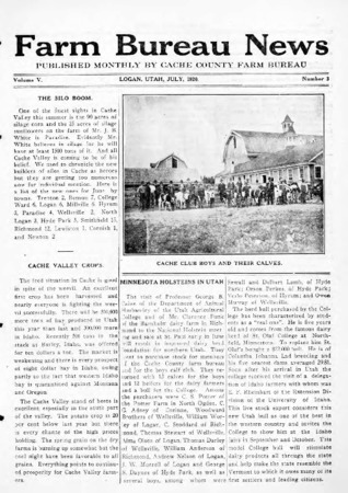 Farm Bureau News, Cache County, Volume V, Number 3, July 1920