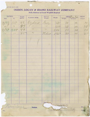 O.L.I. Waybill Abstract, April 27, 1918 from Ogden, Utah<br />