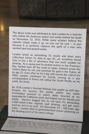 Jack London Pop-Up 100: Exhibit Text Panel