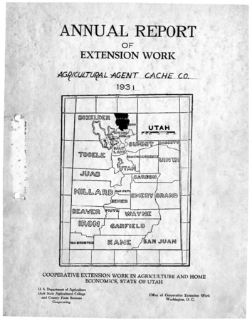 Annual Report of Extension Work, Agricultural Agent, Cache County, 1931