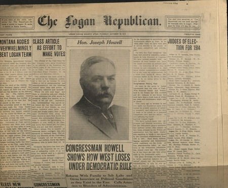 Senator Joseph Howell on the front page of the Logan Republican.