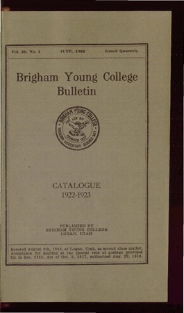 Brigham Young College Bulletin, June 1922