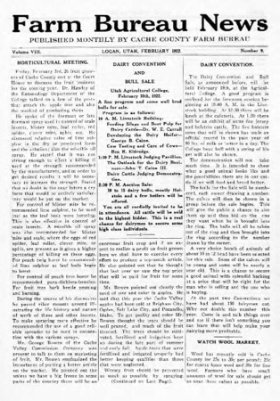 Farm Bureau News, Cache County, Volume VIII, Number 9, February 1922