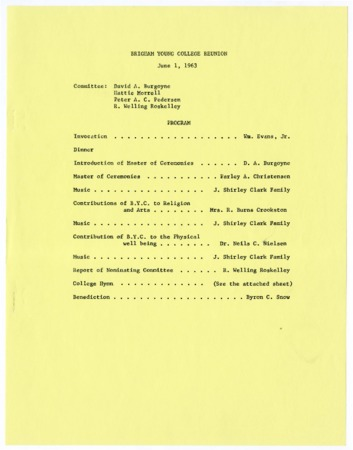 Programs from B.Y.C. Reunion - 1963