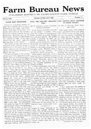 Farm Bureau News, Cache County, Volume VIII, Number 2, July 1922