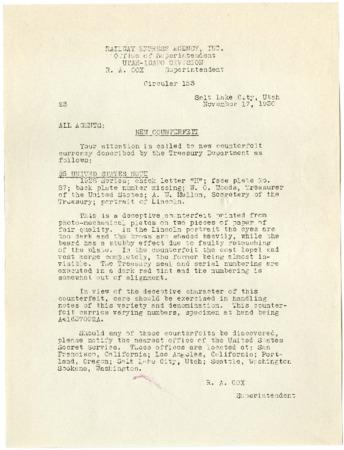 "Railroad Circular, ""New Counterfeit,"" 1930<br />"