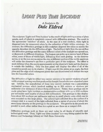 Information about the Light Plus Time Incident Sculpture by Dale Eldred<br />