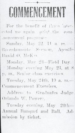 1910 UAC Commencement Program Newspaper Announcement