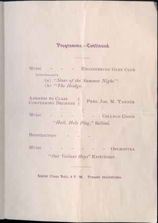 1899 UAC Commencement Program, Page 2