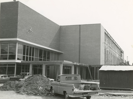 Merrill Library under expansion construction, 1966 (2 of 2)