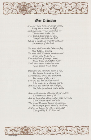 """Our Crimson"" poem in final pages of 1926 Crimson Annual"