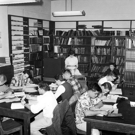 Periodicals reading room, first floor, Merrill Library, 1961