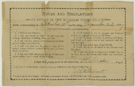 Rules and regulations for pupils in the Brigham Young College. Signed: B. G. Thatcher, pupil; J. Z. Stewart, teacher (1887)