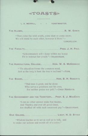 1895 UAC Commencement Menu, Page 2