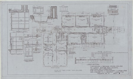 Conversion of Brigham Young College to Logan Senior High School; plan of first story – main building