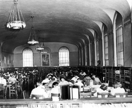 Reading room, Merrill Library, looking south, 1940s
