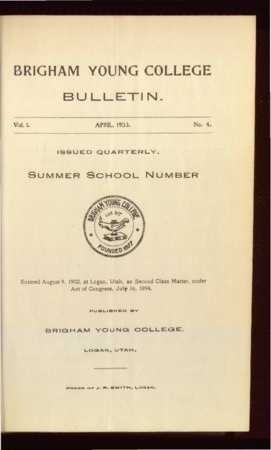 Brigham Young College Bulletin, April, 1903