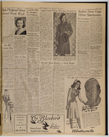 """A page from the """"Student Life"""" newspaper, October 14, 1943"""