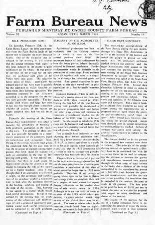 Farm Bureau News, Cache County, Volume XI, Number 10, March 1926