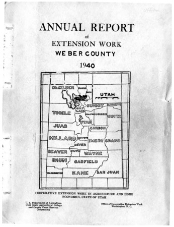 Annual Report of Extension Work, Agricultural Agent, Weber County, 1940