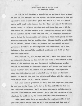 UCA's Birth Was An Act of Faith, by Joseph A. Geddes