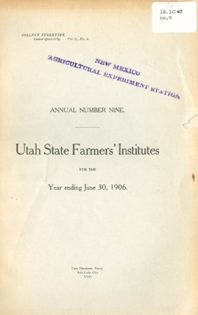 Ninth Annual Report of the Farmers Institute and Housekeepers Conference