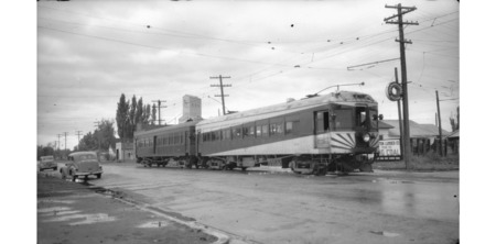 U.I.C. Engine #514 and Passenger Car in Preston, Idaho in 1945<br />