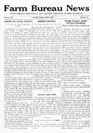 Farm Bureau News, Cache County, Volume VII, Number 11, April 1921