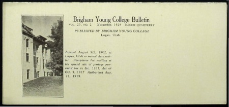Brigham Young College Bulletin, November 1924