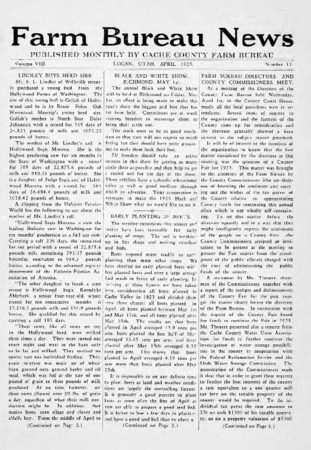 Farm Bureau News, Cache County, Volume VIII, Number 11, April 1925