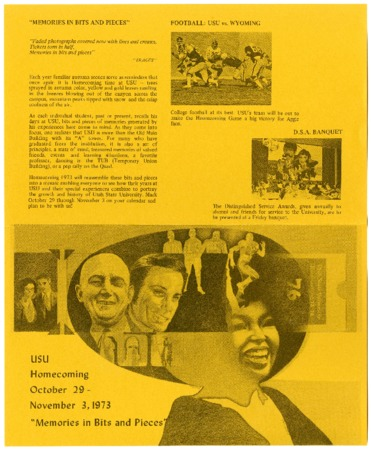 """USU homecoming, """"Memories in Bits and Pieces"""" brochure, 1973"""