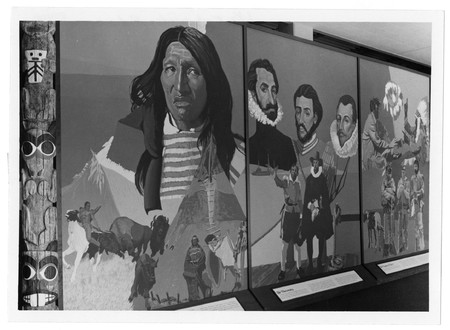 Mural depicting Native Americans &amp; explorers in the Merrill library<br />