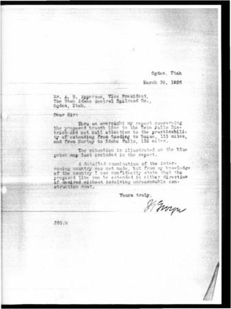 Railroad Reconnaissance Report, March 30, 1928 Letter<br />