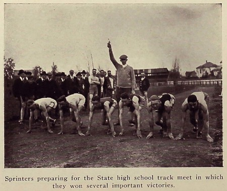 Sprinters preparing for the State high school track meet in which BYC won several important victories (circa 1919)