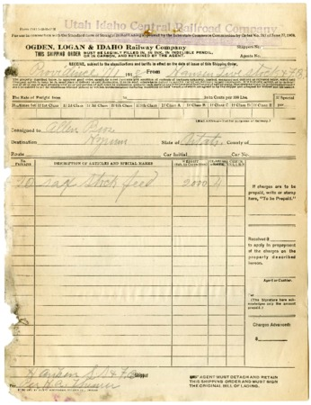O.L.I. Shipping Order, Hansen Livestock, 1918<br />