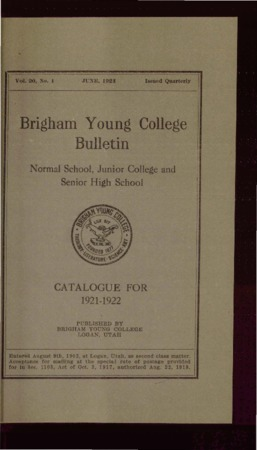 Brigham Young College Bulletin, June 1921