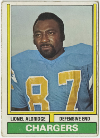 Football card - Lionel Aldridge, San Diego Chargers, 1974.