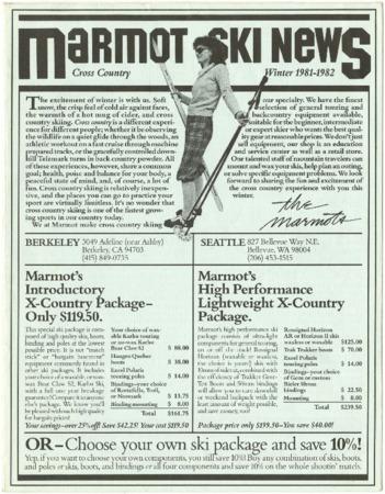 Marmot Mountain Works, Winter 1981-1982