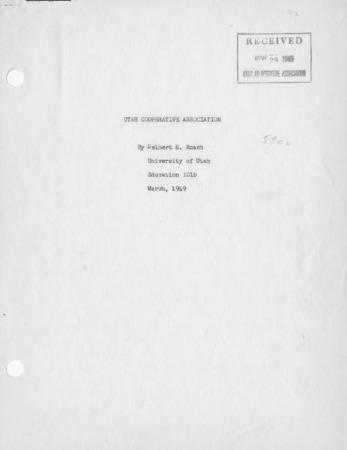 Utah Cooperative Association by Delbert E. Roach