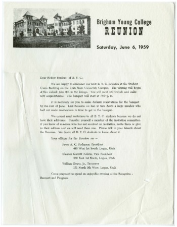Brigham Young College Reunion, Letter and list of attendees (1959 June 6)
