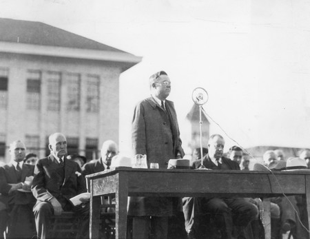 Speaker during the celebration of the Merrill Library cornerstone, 1930