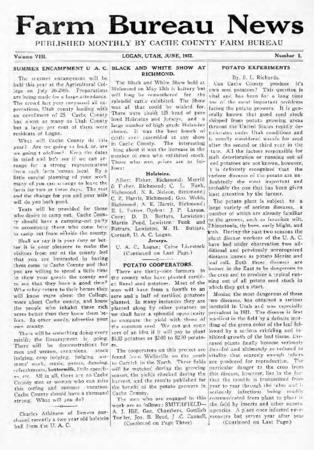 Farm Bureau News, Cache County, Volume VIII, Number 1, June 1922