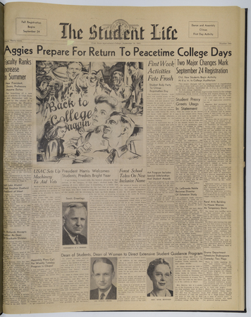 """Front page of the September 24, 1945 """"Student Life"""" newspaper"""