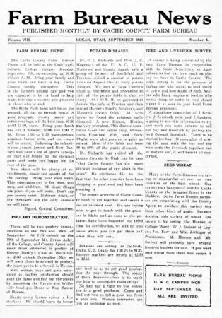 Farm Bureau News, Cache County, Volume VIII, Number 4, September 1921